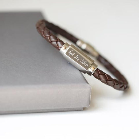 Own Handwriting Engraved Men's Tube Woven Brown Bracelet-OurPersonalisedGifts.com
