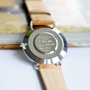 Own Handwriting Engraved Mr Beaumont Black Face Camel Leather Watch-OurPersonalisedGifts.com