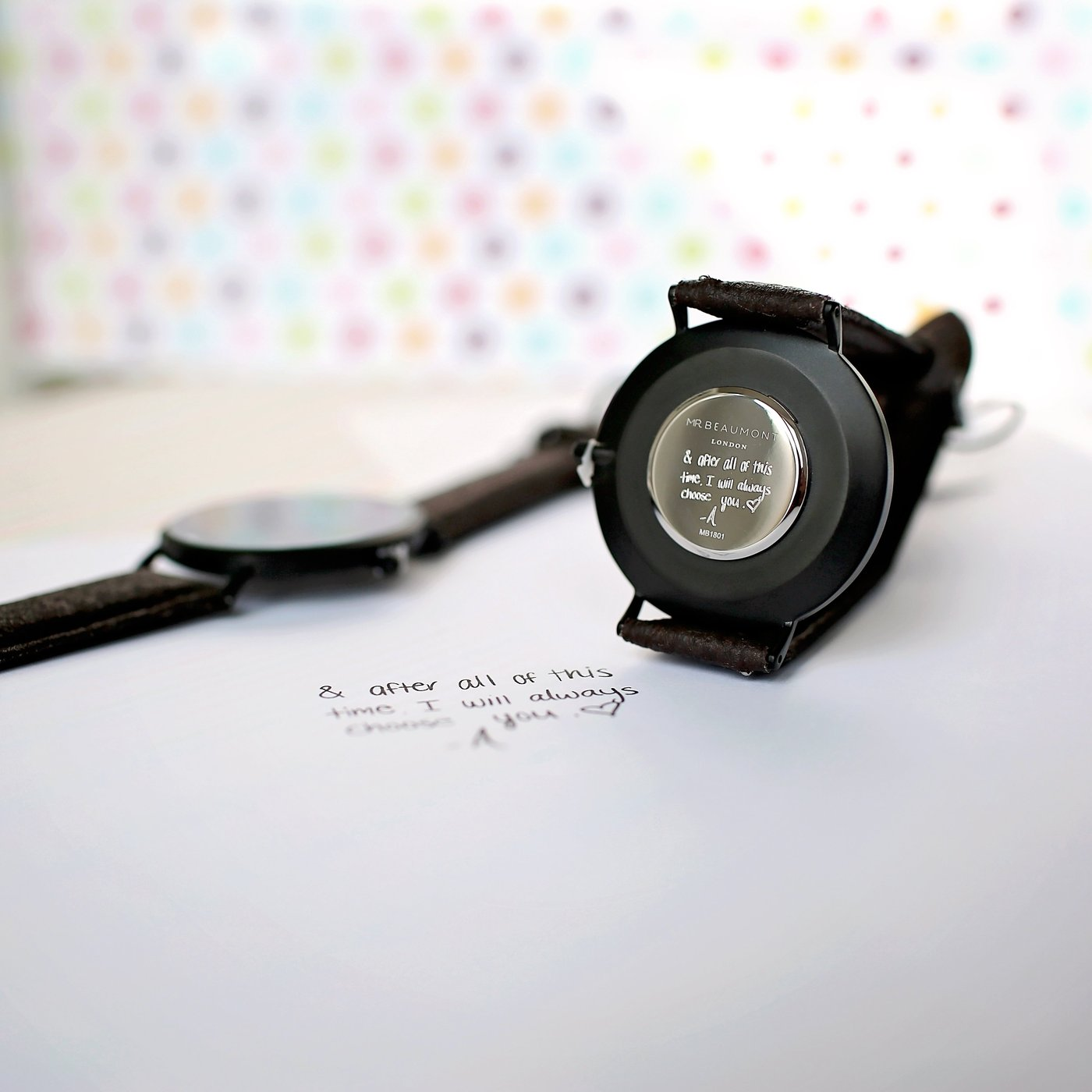 Own Handwriting Engraved Mr Beaumont White Face Black Vegan Watch-OurPersonalisedGifts.com