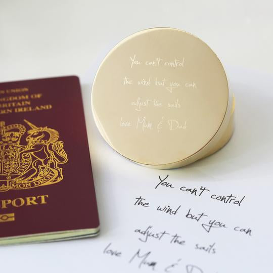 Own Handwriting Engraved Nautical Sundial Compass & Gift Box-OurPersonalisedGifts.com