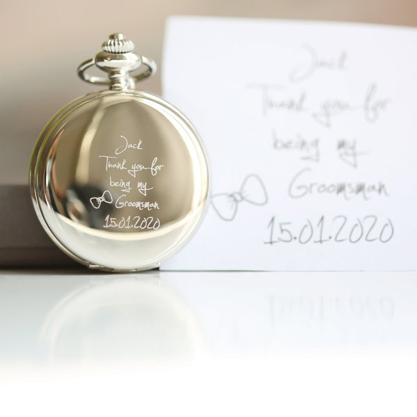 Own Handwriting Engraved Roman Skeleton Pocket Watch-OurPersonalisedGifts.com