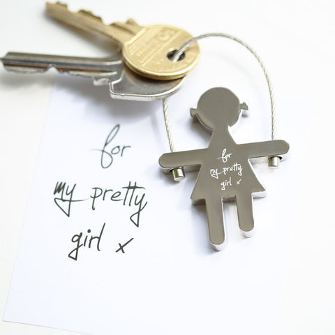Own Handwriting Engraved Skipping Sally Key Ring-OurPersonalisedGifts.com