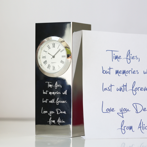 Own Handwriting Engraved Vintage Standing Clock-OurPersonalisedGifts.com