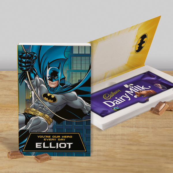 Personalised Batman Cadbury Dairy Milk Chocolate Card-OurPersonalisedGifts.com