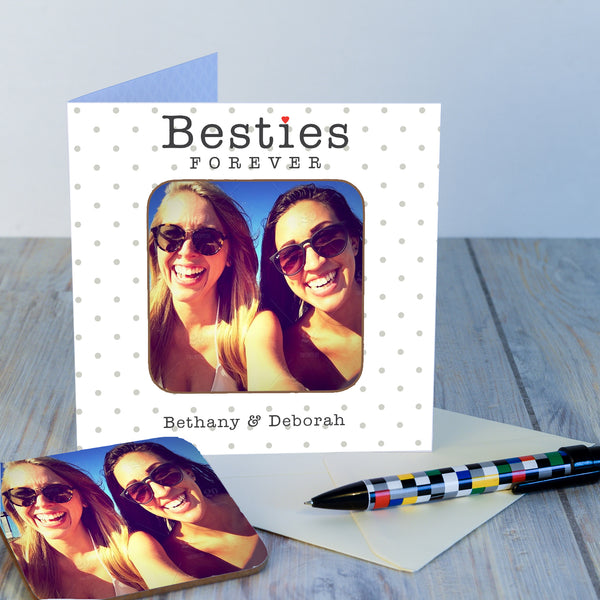 Personalised Besties Forever Photo Upload Coaster Card-OurPersonalisedGifts.com