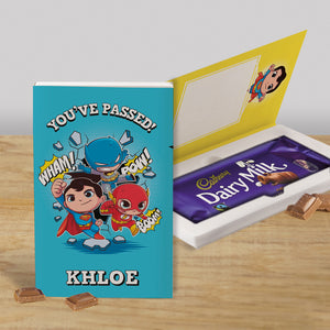 Personalised Blue Superhero Cadbury Dairy Milk Chocolate Card-OurPersonalisedGifts.com
