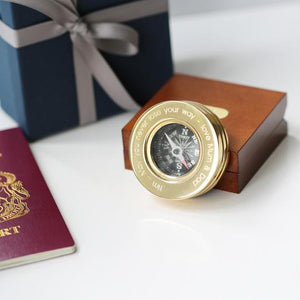 Personalised Brass Compass with Wooden Box-OurPersonalisedGifts.com