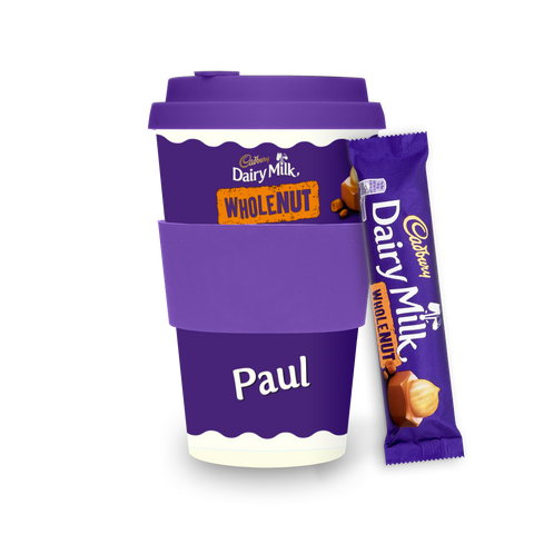 Personalised Cadbury Dairy Milk Wholenut Ecoffee Cup-OurPersonalisedGifts.com