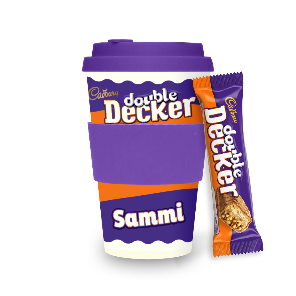 Personalised Cadbury Double Decker Ecoffee Cup-OurPersonalisedGifts.com