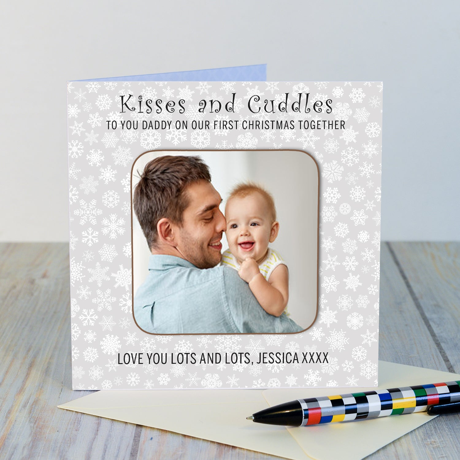 Personalised Daddy Our First Christmas Photo Upload Coaster Card-OurPersonalisedGifts.com