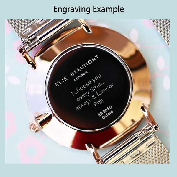 Personalised Small Elie Beaumont Rose Silver Mesh Watch-OurPersonalisedGifts.com