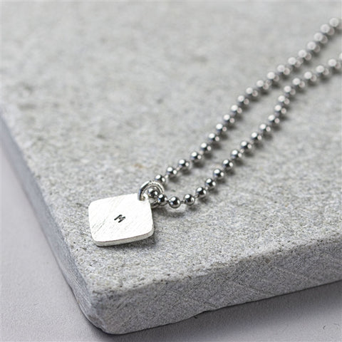 Personalised Hand Stamped Square Tag Dog Chain-OurPersonalisedGifts.com