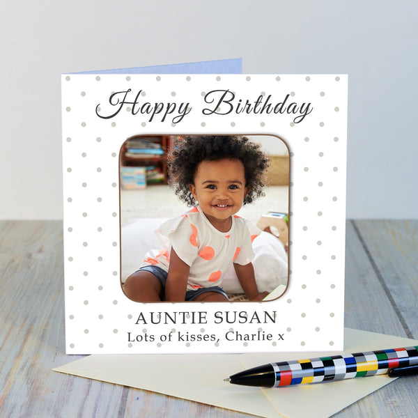 Personalised Happy Birthday Photo Upload Coaster Card-OurPersonalisedGifts.com