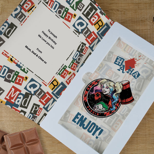 Personalised Harley Quinn Cadbury Dairy Milk Chocolate Card-OurPersonalisedGifts.com