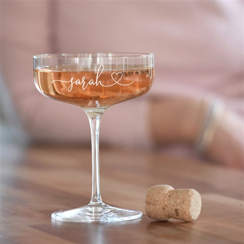 Personalised Heart Crystal Champagne Coupe Glass-OurPersonalisedGifts.com