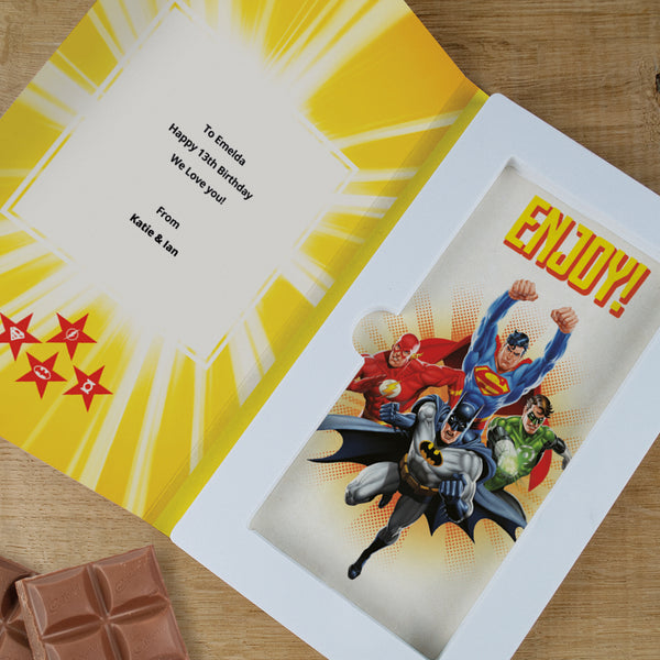 Personalised Justice League Cadbury Dairy Milk Chocolate Card-OurPersonalisedGifts.com