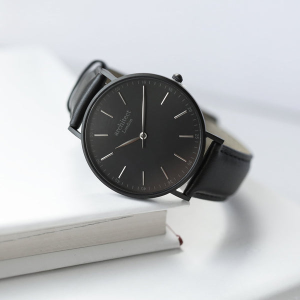 Personalised Men's Architect Watch Jet Black Strap-OurPersonalisedGifts.com