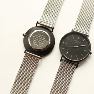 Personalised Men's Architect Watch Silver Steel Mesh Strap-OurPersonalisedGifts.com