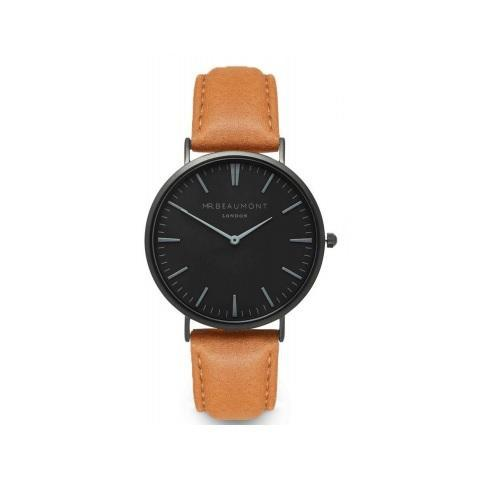 Personalised Mr Beaumont Black Face Camel Leather Watch-OurPersonalisedGifts.com