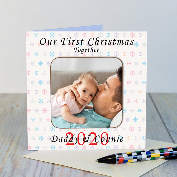 Personalised Our First Christmas Photo Upload Coaster Card-OurPersonalisedGifts.com
