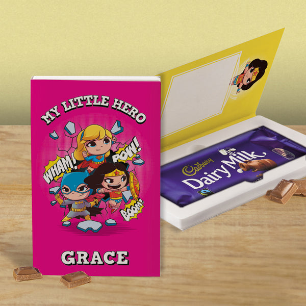 Personalised Pink Superhero Cadbury Dairy Milk Chocolate Card-OurPersonalisedGifts.com