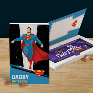 Personalised Superman Cadbury Dairy Milk Chocolate Card-OurPersonalisedGifts.com