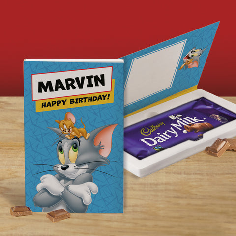 Personalised Tom & Jerry Cadbury Dairy Milk Chocolate Card-OurPersonalisedGifts.com