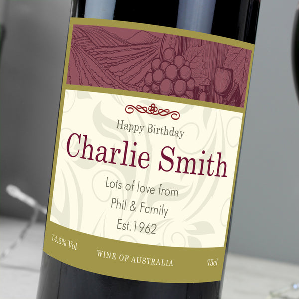 Personalised Traditional Red Wine-OurPersonalisedGifts.com