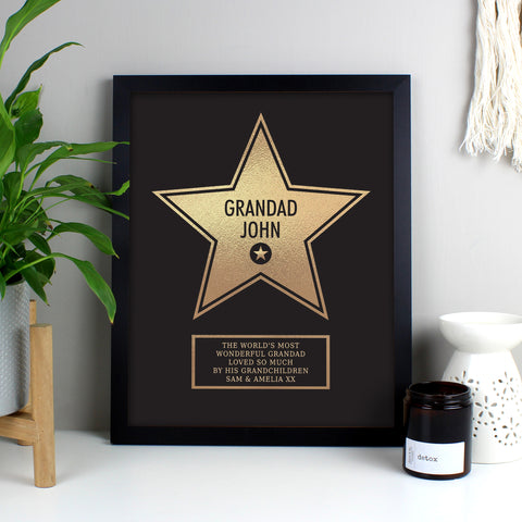 Personalised Walk of Fame Star Black Framed Print-OurPersonalisedGifts.com