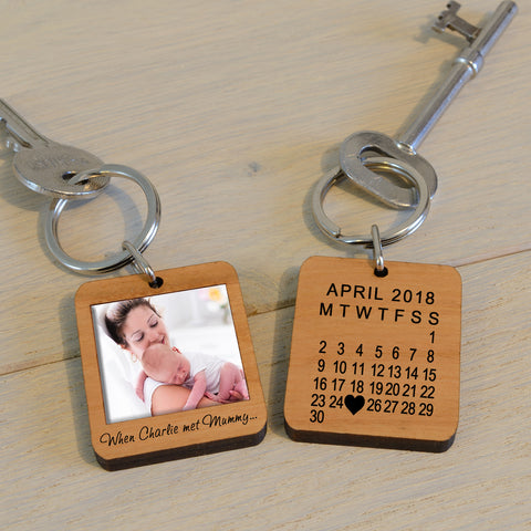 Personalised When We Met Mummy Photo Upload Key Ring-OurPersonalisedGifts.com