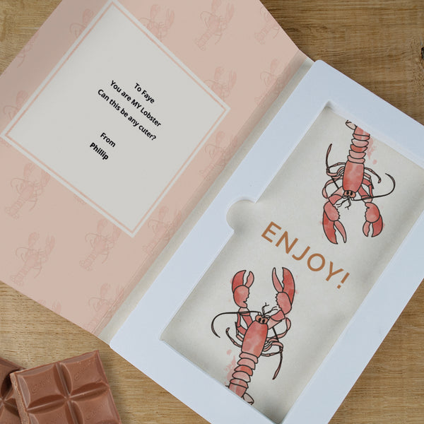Personalised You're My Lobster Cadbury Dairy Milk Chocolate Card-OurPersonalisedGifts.com
