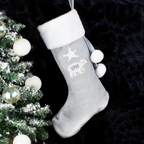 Personalised Baby Polar Bear Luxury Silver Grey Stocking-OurPersonalisedGifts.com