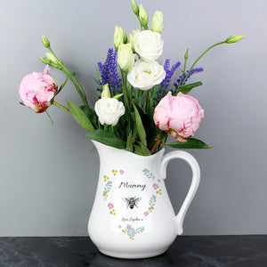 Personalised Bee Happy Ceramic Flower Jug-OurPersonalisedGifts.com