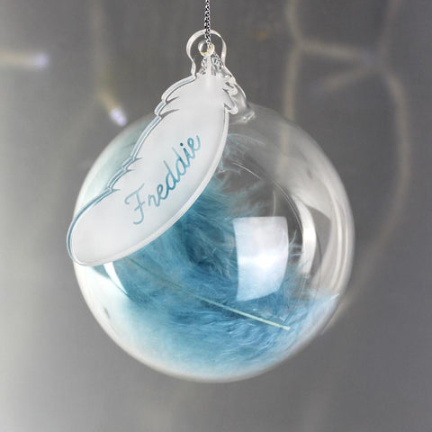 Personalised Blue Feather Glass Bauble-OurPersonalisedGifts.com