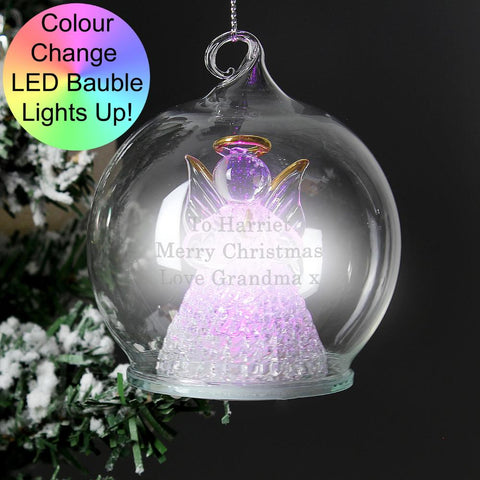 Personalised Christmas Message LED Angel Bauble-OurPersonalisedGifts.com