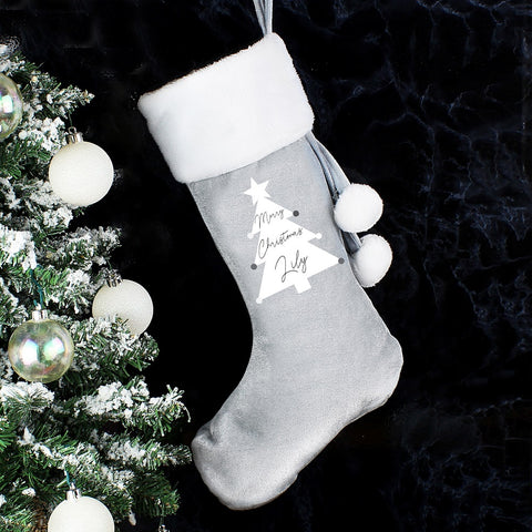 Personalised Christmas Tree Luxury Silver Grey Stocking-OurPersonalisedGifts.com