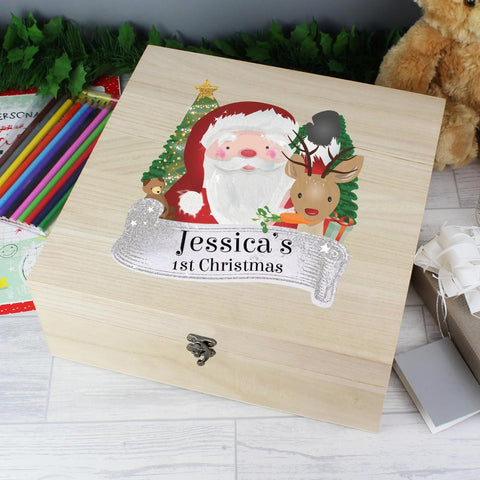 Personalised Colourful Santa Large Wooden Christmas Eve Box-OurPersonalisedGifts.com