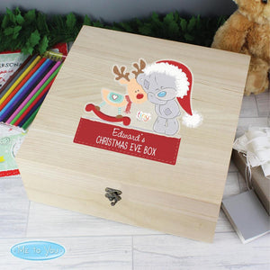 Personalised Colourful Tiny Tatty Teddy Large Wooden Christmas Eve Box-OurPersonalisedGifts.com