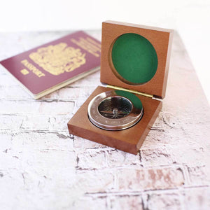 Personalised Chrome Compass with Wooden Box-OurPersonalisedGifts.com