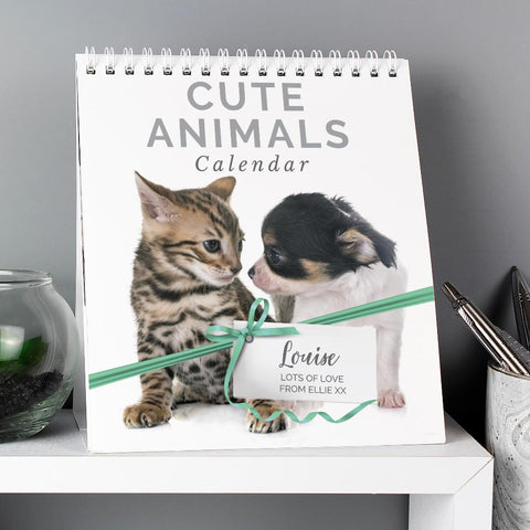 Personalised Cute Animals Desk Calendar-OurPersonalisedGifts.com