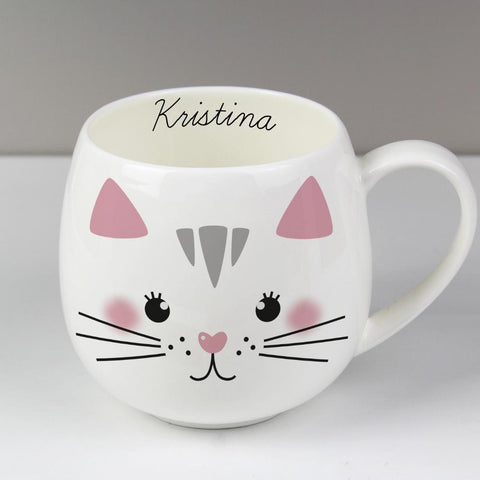 Personalised Cute Cat Shape Mug-OurPersonalisedGifts.com