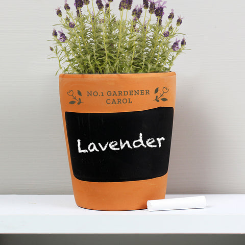 Personalised Floral Chalk Board Terracotta Planter-OurPersonalisedGifts.com