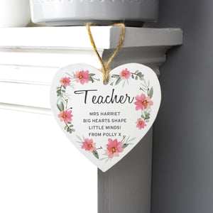 Personalised Floral Sentimental Wooden Heart Decoration-OurPersonalisedGifts.com