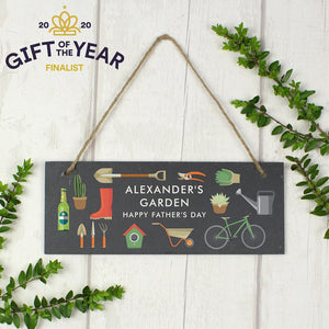 Personalised Garden Printed Hanging Slate Plaque-OurPersonalisedGifts.com