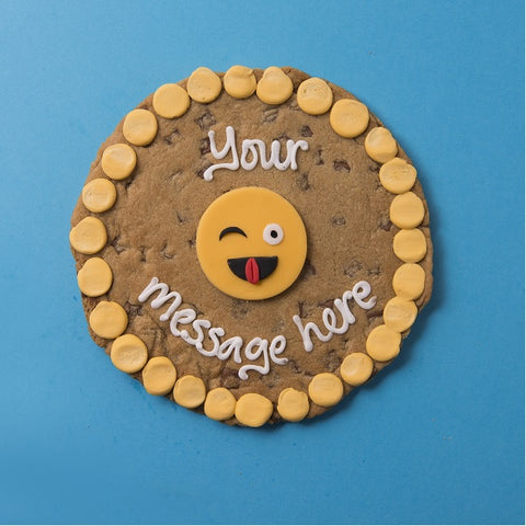 Personalised Giant Cookie Winky Emoji-OurPersonalisedGifts.com