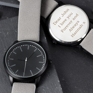 Personalised Men's Matte Black Watch-OurPersonalisedGifts.com