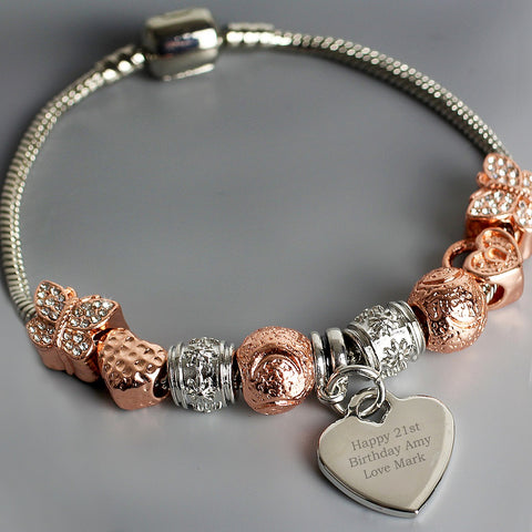 Personalised Message 21cm Rose Gold Charm Bracelet-OurPersonalisedGifts.com
