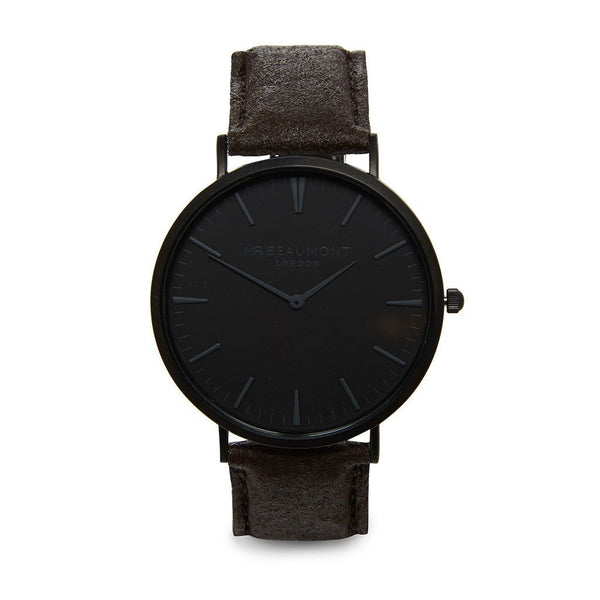 Own Handwriting Engraved Mr Beaumont Black Face Black Vegan Watch-OurPersonalisedGifts.com