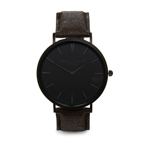 Personalised Mr Beaumont Black Face Black Vegan Watch-OurPersonalisedGifts.com
