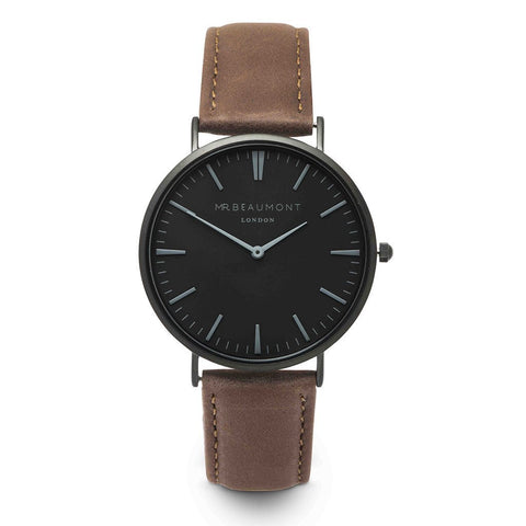 Personalised Mr Beaumont Black Face Brown Leather Watch-OurPersonalisedGifts.com
